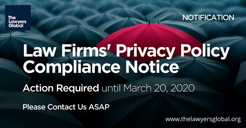 Law Firms' Privacy Policy Compliance Action Required Notice