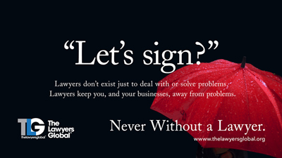 "The Lawyers Global ""Never Without a Lawyer"" campaign"