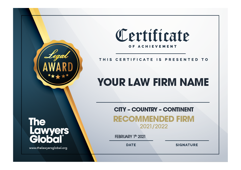 Recommended Law Firm Certificate